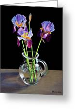 Irises In A Glass Pitcher Greeting Card