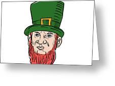 Irish Leprechaun Wearing Top Hat Drawing Greeting Card