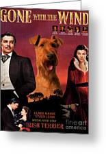 Irish Terrier Art Canvas Print - Gone To The Wind Movie Poster Greeting Card
