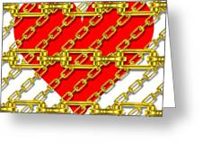 Iron Chains With Heart Texture Greeting Card