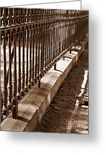 Iron Fence With Shadows Greeting Card