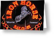 Iron Horse Saloon In Neon Greeting Card