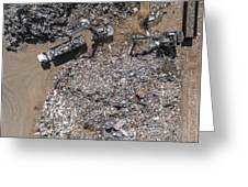 Iron Raw Materials Recycling Pile, Work Machines.  Greeting Card