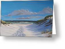 Island Beach Dune Walk Greeting Card