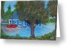 Island Boathouse Greeting Card