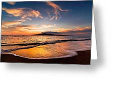 Island Gold - An Amazingly Golden Sunset On The Beach In Hawaii Greeting Card