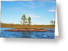 Island In The Form Of A Smooth Rock With Several Pines Greeting Card