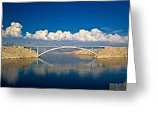 Island Of Pag Bridge And Velebit Mountain Greeting Card