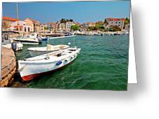 Island Of Prvic Turquoise Harbor And Waterfront View In Sepurine Greeting Card