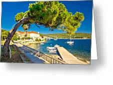 Island Of Vis Seafront Walkway View Greeting Card