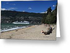 Island Princess Cruise Ship From Third Beach Stanley Park Vancouver B.c  Canada Greeting Card