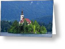 Island With Church On Bled Lake, Slovenia Greeting Card
