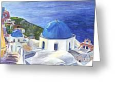 Isle Of Santorini Thiara  In Greece Greeting Card