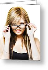 Isolated Sexy Girl Wearing Glasses On White Greeting Card