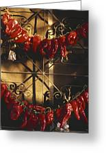 Israel Red Peppers Drying In The Sun Greeting Card