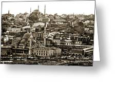 Istanbul Cityscape Vix Greeting Card
