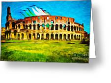 Italian Aerobatics Team Over The Colosseum Greeting Card