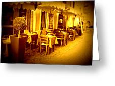 Italian Cafe In Golden Sepia Greeting Card