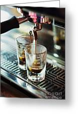 Italian Espresso Expresso Coffee Making Preparation With Machine Greeting Card