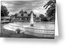 Italian Fountain Maymont B And W Greeting Card