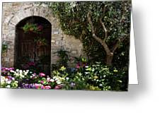 Italian Front Door Adorned With Flowers Greeting Card