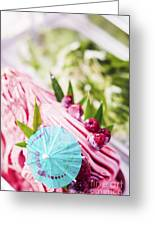 Italian Gelato Raspberry Ice Cream With Blue Umbrella Greeting Card