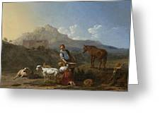 Italian Landscape With Girl Milking A Goat Greeting Card