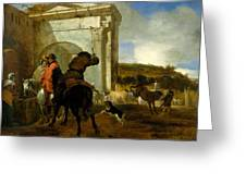 Italian Landscape With Horsemen By A Spring Greeting Card