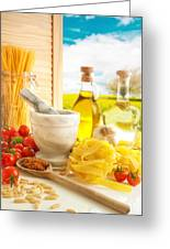 Italian Pasta In Country Kitchen Greeting Card