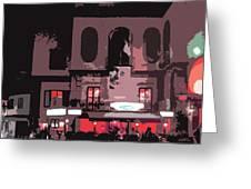 Italian Restaurant At Night Greeting Card