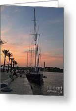 Italian Sunset And Sailboat Greeting Card