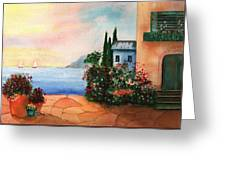 Italian Sunset Villa By The Sea Greeting Card