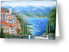 Italian Village By The Sea Greeting Card by Marilyn Dunlap