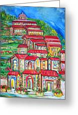 Italian Village On A Hill Greeting Card