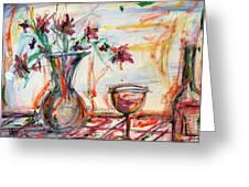 Italian Wine And Flower Vase On Table Greeting Card