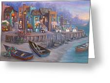 Italy Tuscan Decor Painting Seascape Village By The Sea Greeting Card