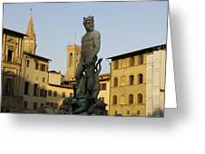 Italy, Florence, Neptune Fountain Greeting Card by Sisse Brimberg & Cotton Coulson