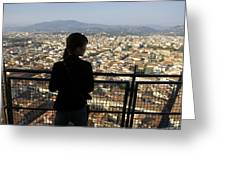 Italy, Florence, Tourist Looks Greeting Card