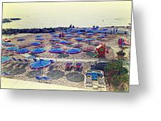 Italy, Sanremo, The Beach. Greeting Card