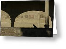 Italy, Tuscany, Florence, A Man Walks Greeting Card by Keenpress