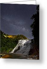 Ithaca Falls By Moonlight Greeting Card