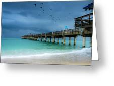It's Getting Stormy At The Pier Greeting Card