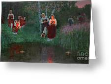 Ivan Kupala. Fortunetelling For Wreaths. Greeting Card