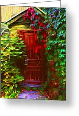 Ivy Surrounded Old Outhouse Greeting Card