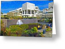 J. Paul Getty Museum Central Garden Panorama Greeting Card