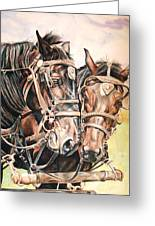 Jack And Joe Hard Workin Horses Greeting Card