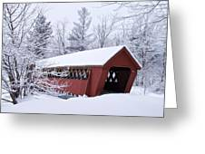 Jack O'lantern Covered Bridge Greeting Card