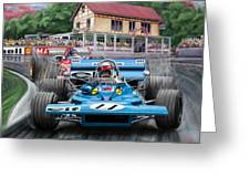 Jackie Stewart At Spa In The Rain Greeting Card