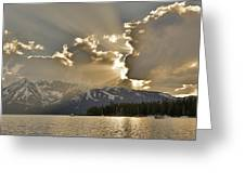 Jackson Lake Sunset View Greeting Card