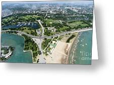 Jackson Park In Chicago Aerial Photo Greeting Card